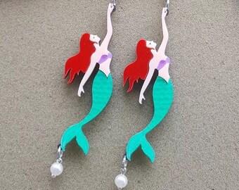 Handmade whimsical mermaid moschino look lucite earrings