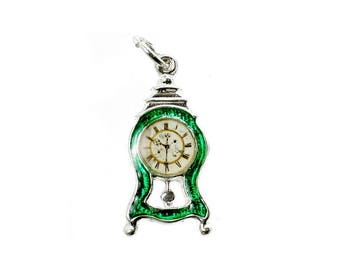 Sterling Silver Enamelled Mantle Clock Charm For Bracelets