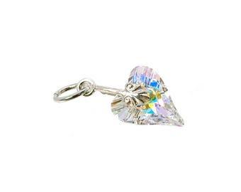 Sterling Silver & Swarovski AB Crystal Wild Heart Charm For Bracelets