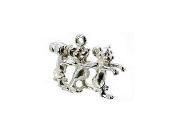 Sterling Silver 3 Blind Mice Charm For Bracelets