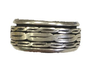 Vintage Sterling Silver Twist Band Ring CC6 Size 6.5