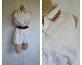 Sale White Summer Romper / 1980s Shorts Romper / Vintage 80's Shorts Jumper / Cherrystix Ltd Romper / Vintage Tennis Romper S/M