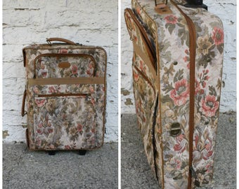 1980s Tapestry Luggage / Vintage Floral Suitcase / Mary Poppins Suitcase / Garment Bag Luggage / Vintage Convertible Tapestry Suitcase