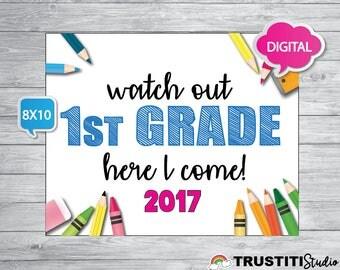 BACK TO SCHOOL sign 8x10, Pre'k, kindergarten, 1st grade, 2nd Grade, 3rd grade