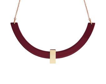 Collier Quito Bordeaux • ras de cou •  géométrique •  minimaliste • noël • or