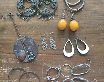 Lot of Vintage Dangle & Drop Hoop Earrings in Bone, Mexican Silver and More with Bonus Silver Hairpiece