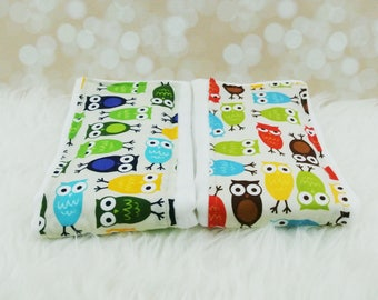 2 Baby Burp Cloths (Blue/Green Owls & Bermuda Owls)     burp rag, baby burp cloths, burping rag, baby shower gift, baby gift