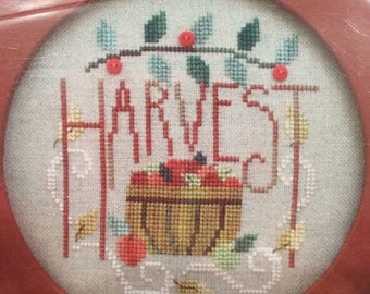 25% OFF SALE SALE Waxing Moon Designs Apple Harvest Cross Stitch Pattern includes 3 red buttons