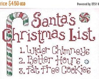 25% OFF SALE SALE Sue Hillis Santa's Christmas List Cross Stitch Pattern