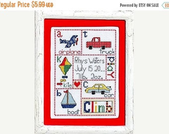 PRESIDENTS DAY SALE Bobbie G Designs Patchwork Baby Boy Counted Cross Stitch Pattern