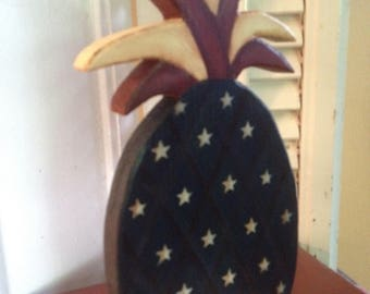 American Flag Pineapple Shelf Sitter Hand Crafted and Painted