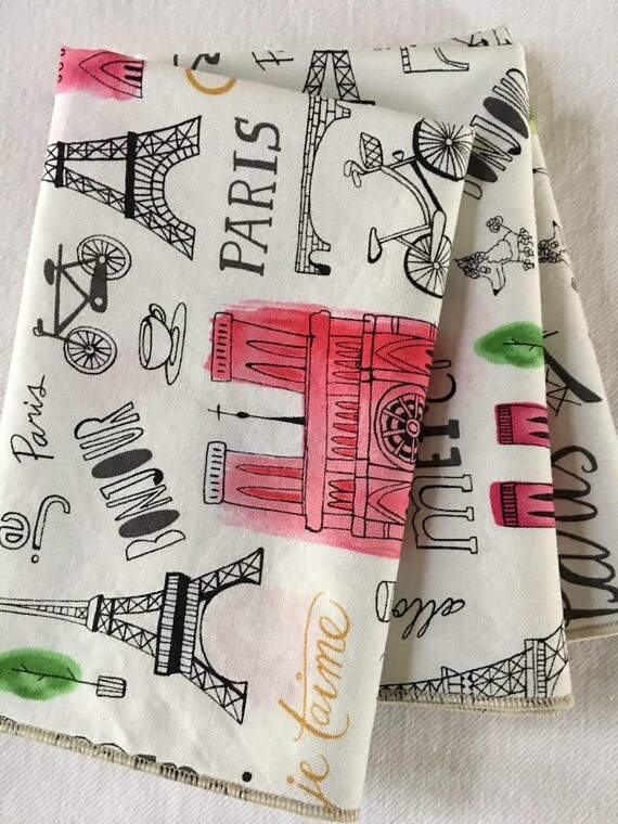 Paris Sayings and Scenery All Cotton Lunch Box Cloth Napkin 12x15 in Size by Smartkin