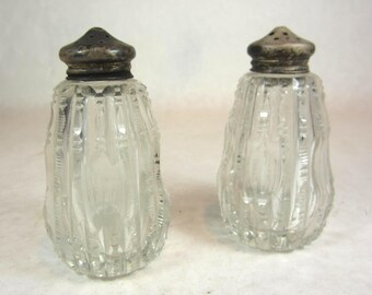 American brilliant cut glass salt and pepper shakers 1890s Victorian sterling tops