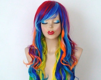 Rainbow color wig.  Rainbow dash wig. Long curly rainbow wigs. Heat resistant Synthetic wig
