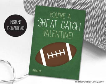 Football Valentines Day Cards Valentines Cards Kids Football Cards Great Catch Boys Valentines Digital Download Instant Download Classroom