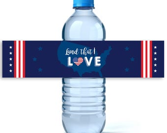 4th of July Water Labels- Personalized Label - 4th of July Decor - Independence Day - 4th of July - Water Bottle Labels - Land That I Love