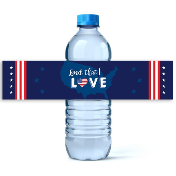 4th of july water labels personalized label 4th of july decor independen - Produit la bel lande ...