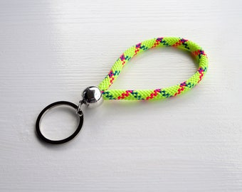 NEON yellow sporty nautical sailing rope keychain with round or heart shaped keyring