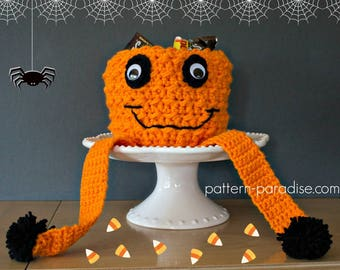 Crochet Pattern Jack O Pumpkin Candy Bowl Basket Tray Container PDF 17-334