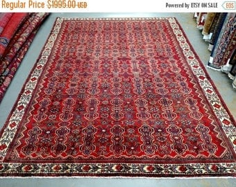 """SUMMER CLEARANCE 1960s Hand-Knotted Hamadan 9' x 12'5"""" Rug (3554)"""