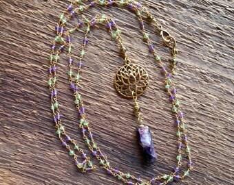 Lotus Necklace, Amethyst Necklace, Amethyst Point Necklace, Rosary Chain Necklace, Long Necklace, Layering Necklace Gemstone Necklace