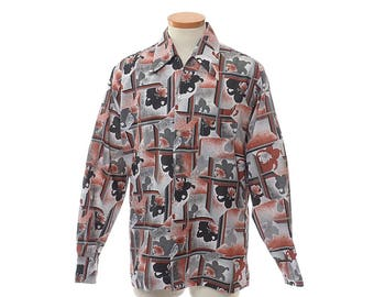 Vintage 70s Joel California Abstract Disco Shirt 1970s Mod Floral Boogie Nights Polyester Pimp Prom Rat Pack Dance Party Shirt / Mens L