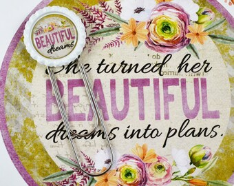 """August """"Beautiful Dreams"""" Planner Clip, Large bookmarks, Paperclip, planner accessories, planner clips"""