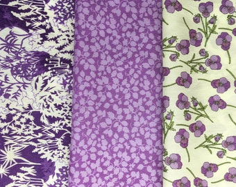 "8"" x 12"" pieces - Purple pack of 3 Liberty London Tana Lawn"
