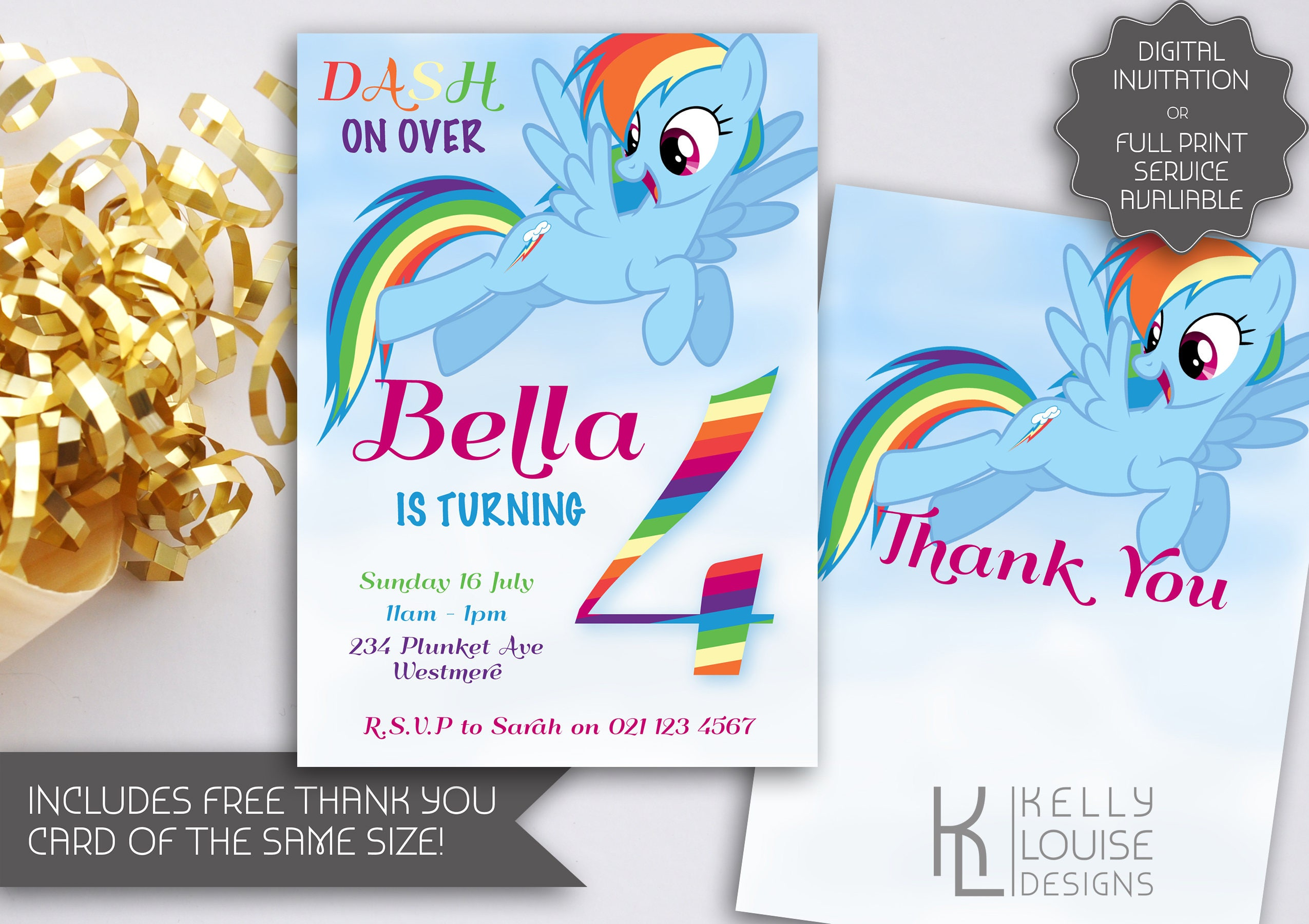 Rainbow Dash Birthday Invitation
