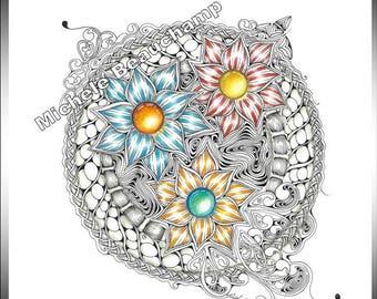 Zentangle Inspired Art - Pop of Colour
