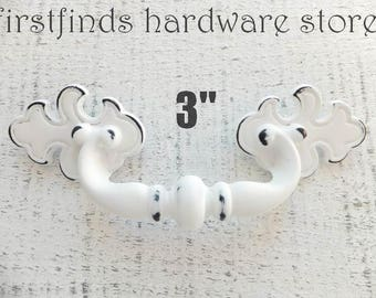Shabby Chic White Drawer Pull Handle Furniture Metal Dresser Ornate Painted Cabinet Hardware Distressed Fancy Fixed ITEM DETAIL BELOW