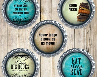Book lover magnets - Bottle cap magnets - Earth magnets - I love books - Book nerd - Book club gifts - Love to read - Book lover gifts