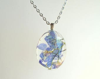 Larkspur Real Purple Wildflower Oval Pressed Flower Glass Pendant Necklace