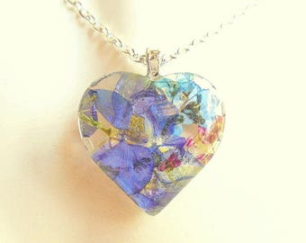 Alyssum, Forget me not, Larkspur Real Flower Pendant Heart Glass Necklace