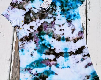 Aqua, Grey, & Shiitake Tie Dye // Bella and Canas V Neck Tee // Size Women's Large // Teal and Brown Short Sleeve Ice Dye Tee