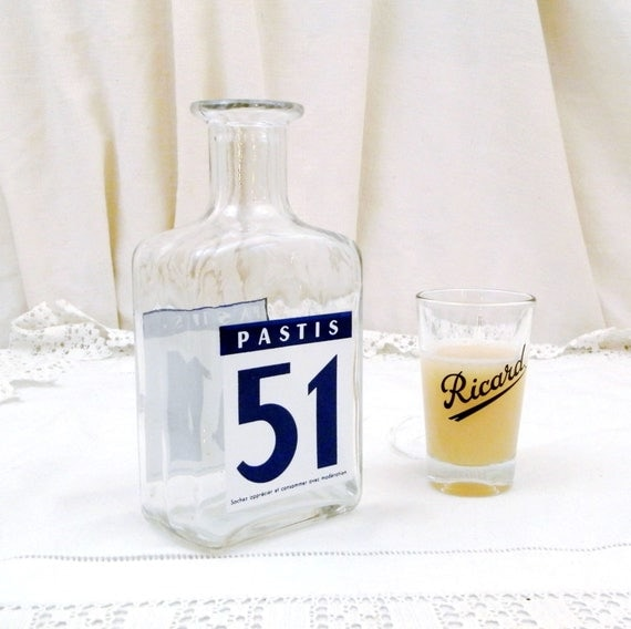 Vintage French Pastis 51 Aniseed Aperitif Drink Water Carafe / Bottle, South of France Cote D'Azur Drinks, Ricard Pernod, Retro Home