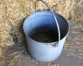 Antique Belgian galvanized zinc planter bucket  with handle