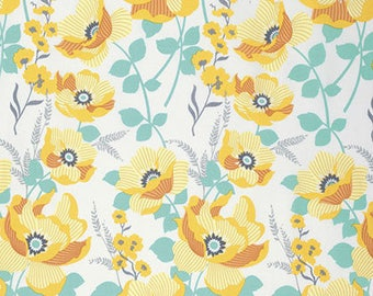 Golden Floral Fabric - Monarch - Atrium Collection by Joel Dewberry