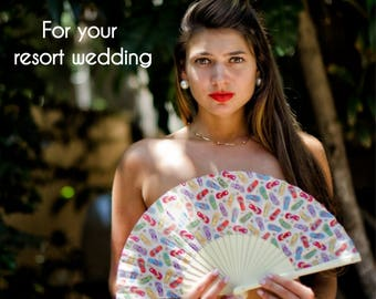 Wedding Favor for Resort Wedding | Designer HAND FAN | Pop Art flip flops beach design | bridal accessory | bride | Free Shipping Worldwide
