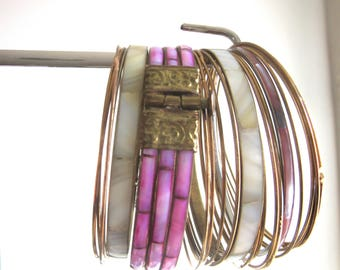 Lot 23 Mother of Pearl & Brass Bangles Retro Boho Gypsy Pink White Gold Colors
