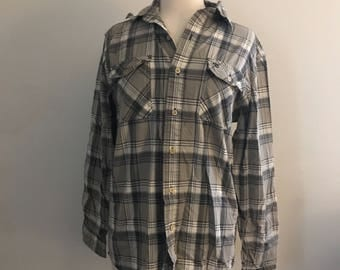 Vintage Oversize White and Tan Timberland Flannel Shirt for Men and Women Size Small