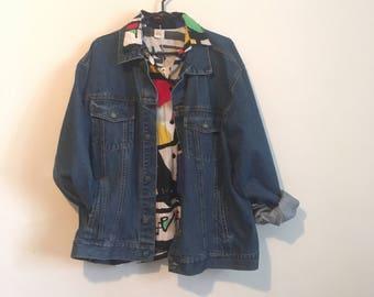90s XL denim jacket, oversized dark rinse jean coat, Nevada, unisex - vintage -