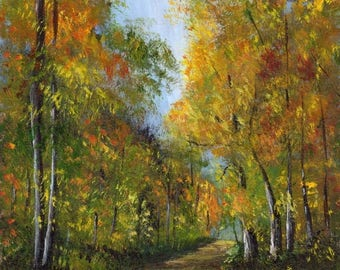 SALE Autumn Days Woods Forest Trees Fall SFA  Original hand painted acrylic Landscape painting by Australian Artist Janet M Graham