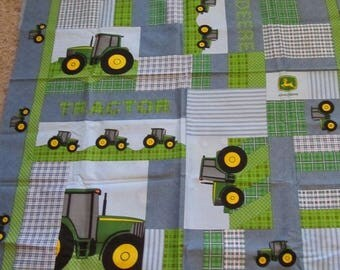 Blue/Green John Deere Tractor Cotton Fabric by the Panel