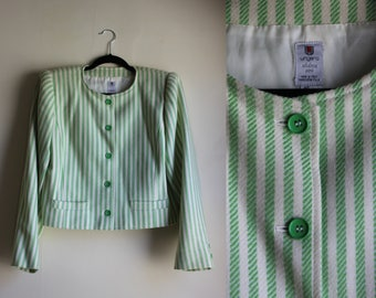 UNGARO Cropped Jacket with Green and White Stripes ||| Medium ||| 1980s