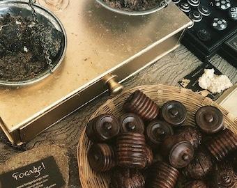 Amber Resin in Hardwood Pot