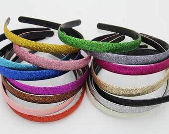 Glitter headband - Thick DIY headband - You CHOOSE colors!  - Hard Headband - DIY Headband supplies