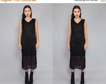 40OFF Vtg 90s Black Crochet Vamp Midi Dress Gown S