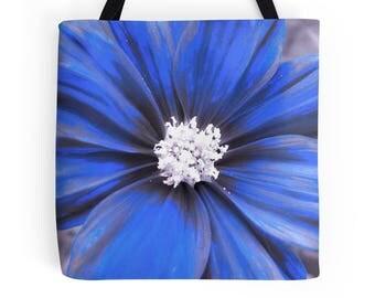 Blue Flower Tote, Flower Tote, Blue Flower Bag, Blue Flower Purse, Flower Purse, Blue Flower Tote Bag, Floral Bag, Flower Handbag, Blue Bag