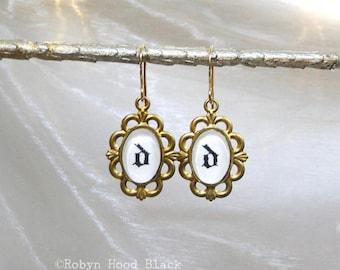 Letter D Earrings Hand Stamped Vintage Letterpress Gothic Font in Vintage Brass Settings